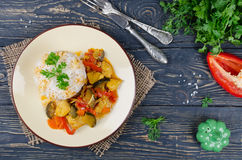 Rice and stew with chicken and vegetables Stock Images