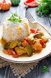 Rice and stew with chicken and vegetables Royalty Free Stock Photos