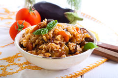 Rice with stewed vegetables Stock Image