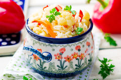 Rice stewed with vegetables Stock Image