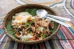 Thai food stir fried pork basil. Rice with stir fried Basil pork and egg on natural dish and wooden dish. Famous spicy Thai food Stock Photos