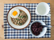 Rice stir fried pork and basil with egg. Stock Photography