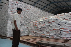 Rice storage warehouses Stock Image