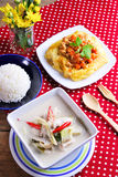 Rice ,stuffed omelette and tom kha kai ,chicken with coconut mil Royalty Free Stock Image