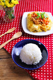 Rice ,stuffed omelette and tom kha kai ,chicken with coconut mil Royalty Free Stock Photos