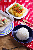 Rice ,stuffed omelette and tom kha kai ,chicken with coconut mil Royalty Free Stock Images