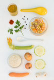 Rice with Summer Squash and Carrots. On a White Background Royalty Free Stock Photography