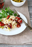Rice with sun-dried tomatoes in a plate Stock Image