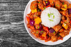 Rice with Sweet and Sour fried pork chunks Stock Photography
