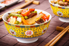 Rice with sweet and sour vegetables Royalty Free Stock Images