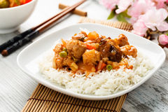 Rice with sweet and sour vegetables Royalty Free Stock Photo