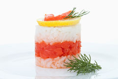 Rice tart garnished with lemon slice and dill Royalty Free Stock Photo