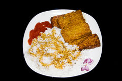 Rice and tempeh. Indonesian food - tempeh with rice, spicy sauce sambal and sweet soya sauce Stock Photos
