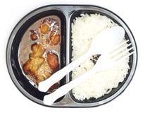 Tv dinner of  Rice and teriyaki chicken Royalty Free Stock Image