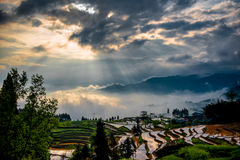 Rice terraces and diffraction light Stock Images