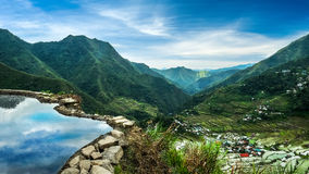 Rice terraces fields in Ifugao province mountains Banaue, Philippines. Amazing panorama view of rice terraces fields in Ifugao province mountains under cloudy Royalty Free Stock Images