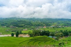 Rice terraces and fields with village in the mountains. Countryside landscape Stock Photo