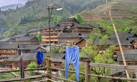 Rice terraces in the highlands of China, peasant farming village royalty free stock photos