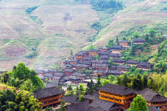 Rice terraces landscape in may (village Dazhai, Guangxi province Royalty Free Stock Image