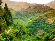 Rice terraces and traditional village Royalty Free Stock Photos