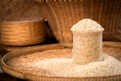 Rice. In a test tube on threshing basket Royalty Free Stock Image
