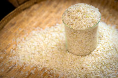 Rice. In a test tube on threshing basket Stock Photo