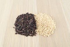 Rice thai black, brown rice, carnaroli rice Royalty Free Stock Images