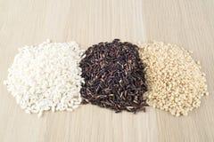 Rice thai black, brown rice, carnaroli rice Royalty Free Stock Photography