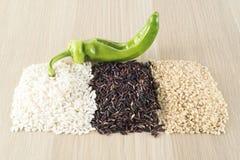 Rice thai black, brown rice, carnaroli rice Stock Photography