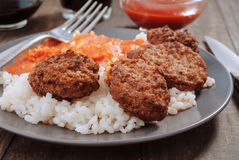 Rice with tomato and meat balls Royalty Free Stock Photo