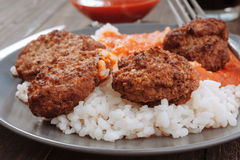Rice with tomato and meat balls Royalty Free Stock Photos