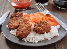 Rice with tomato and meat balls Stock Photography