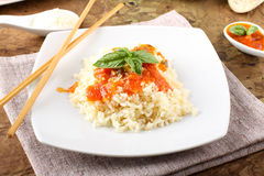 Rice with tomato sauce and basil Royalty Free Stock Photo