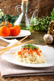 Rice with tomato sauce and basil Stock Image