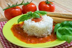 Rice with tomato sauce Stock Image
