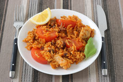 Rice with tomato and seafood Royalty Free Stock Photography