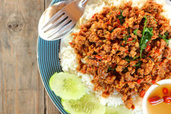 Rice topped with fried pork Royalty Free Stock Photography