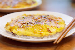 Rice topped with Japaneese omelette, Tenshindon Stock Images
