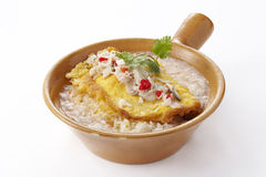 Rice topped with omelet and crab in gravy Royalty Free Stock Image