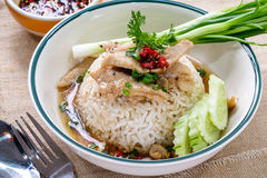 Rice topped with pork sauce Stock Image