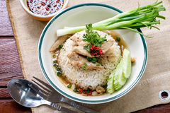 Rice topped with pork sauce Royalty Free Stock Photos