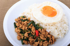 Rice topped with stir-fried chicken, basil and fried egg, fried stir basil with minced chicken on brown background Royalty Free Stock Photos