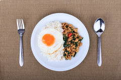 Rice topped with stir-fried chicken, basil and fried egg, fried stir basil with minced chicken on brown background Royalty Free Stock Photo