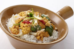 Rice topped with Stir-fried Crab meat Royalty Free Stock Image