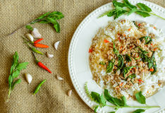 Rice topped with stir-fried pork and basil Royalty Free Stock Photography