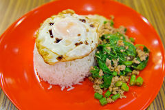 Rice topped with stir-fried pork, basil and fried egg (sunny sid Royalty Free Stock Images