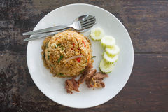 Rice topped with stir-fried pork and basil Royalty Free Stock Photo