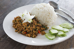 Rice topped with Stir Fried Pork with yellow curry paste Stock Image