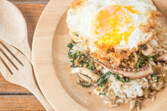 Rice topped with stir-fried squid basil and fried egg (Thai food Royalty Free Stock Photos