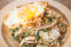 Rice topped with stir-fried squid basil and fried egg (Thai food Stock Image